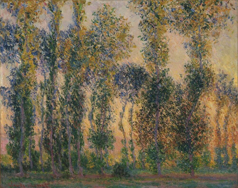 Poplars at Giverny, Sunrise, 1888 by Claude Monet